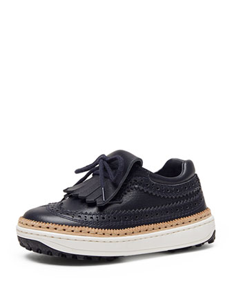 Augusta Leather Wingtip Loafer, Navy, Toddler