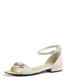 Liliane Junior Suede Sandal, White