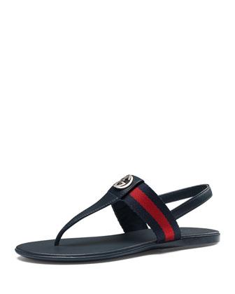 Poppy Junior Web Leather Thong Sandal