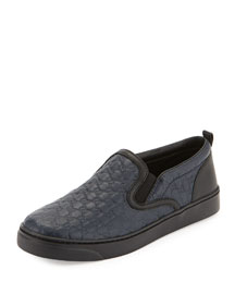 Board Junior Leather Slip-On Sneaker, Navy, Youth