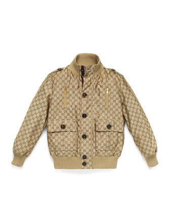 Logo-Jacquard Button-Front Bomber Jacket, Beige, Size 4-12