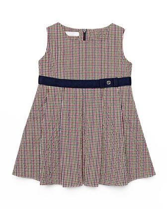 Sleeveless Seersucker Dress, Red/White/Blue, Size 3-36 Months
