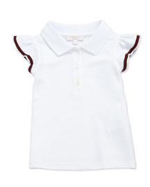 Flutter-Cuff Pique Polo, White, Size 3-36 Months