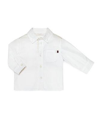 Long-Sleeve Logo-Trim Poplin Shirt, White, Size 3-36 Months