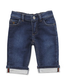 French Terry-Lined Denim Jeans, Ocean, Size 3-24 Months