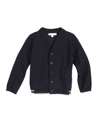 Long-Sleeve V-Neck Cardigan, Navy, Size 0-36 Months