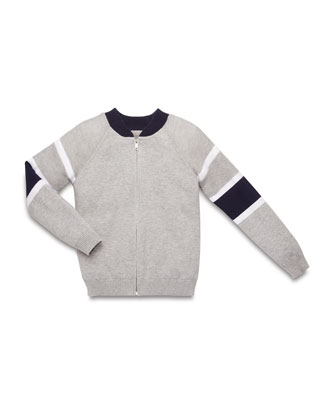 Long-Sleeve Zip-Front Cardigan, Light Gray/White/Navy, Size 4-12