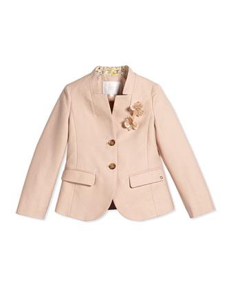 Long-Sleeve Pique Jacket w/ 3D Flowers, Dark Nude, Size 4-12