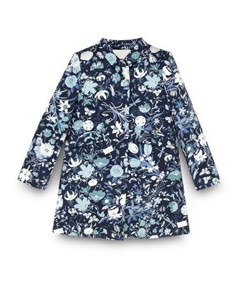 Floral-Print Long-Sleeve Jacket, Blue/Multicolor, Size 4-12
