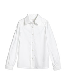 Long-Sleeve Poplin Shirt, White, Size 4-12