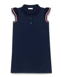 Stretch-Pique Polo Dress, Blue/Multicolor, Size 4-12