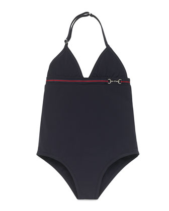 Banded One-Piece Swimsuit, Navy, Size 4-12