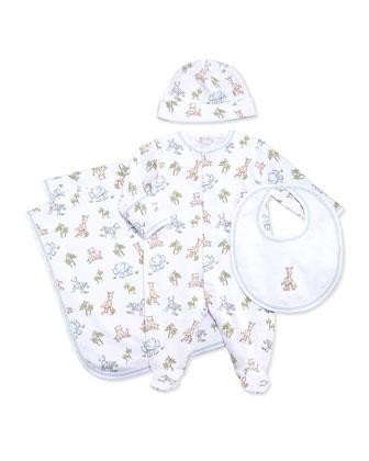 Sunny Safari-Print Baby Hat, White