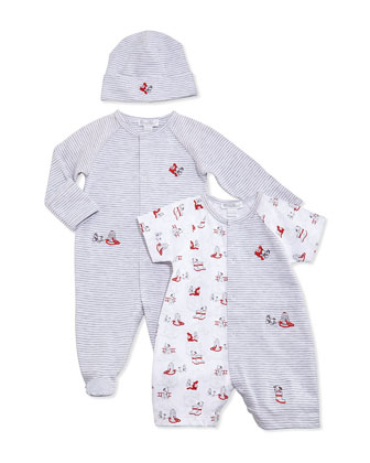 Sparky Striped Footie Pajamas, Gray, Size NB-9 Months