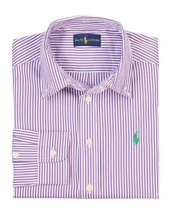 Striped Tailored Poplin Shirt, Purple/Multicolor, Size 2-7