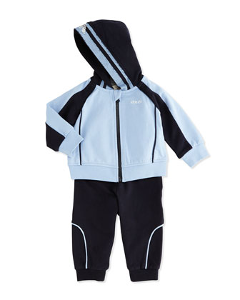 Two-Piece Hooded Tracksuit, Light Blue/Navy, 3-24 Months