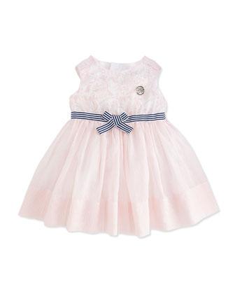 Floral & Stripe Cotton Dress, Pink/White