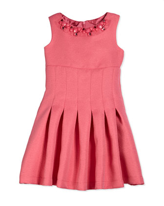 Embossed Jacquard Fit-and-Flare Dress, Coral, Size 7-14