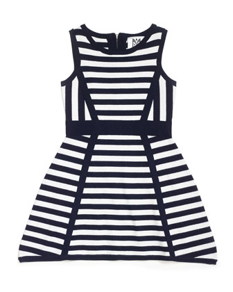 Directional Stripe Sleeveless Knit Dress, Black/White, Size 2-7