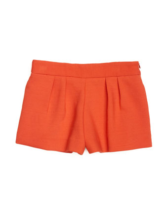 Doubleweave Stretch-Cady Pleated Shorts, Poppy, Size 8-14