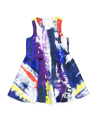 Sleeveless Graffiti-Print Flounce Dress, Multicolor, Size 8-14
