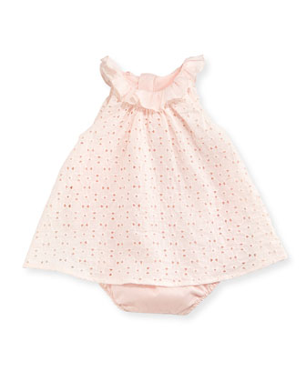 Eyelet Dress Overlay Bubble Bodysuit, Light Pink, Size 3-18 Months