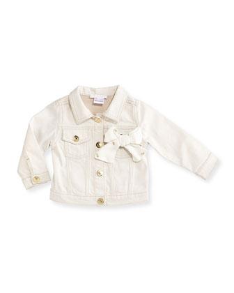 Snap-Front Denim Jacket, Ivory, Size 12M-3Y