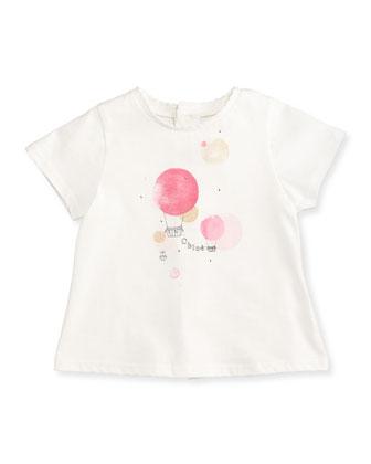 Hot Air Balloon-Print Jersey Tee, White/Fuchsia, Size 12M-3Y