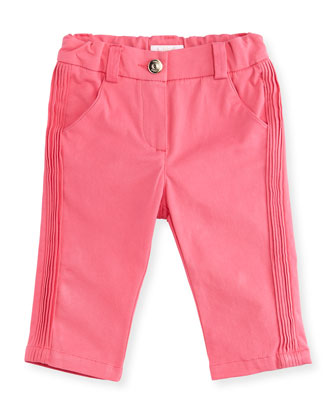 Pleated Stretch-Knit Gabardine Pants, Fuchsia, Size 12M-3Y