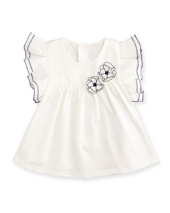 Sleeveless Smocked-Front Jersey Blouse, White, Size 12M-3Y