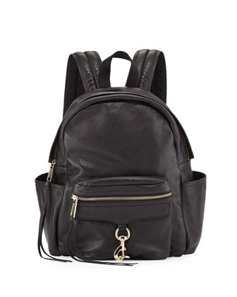 Mab Faux-Leather Baby Backpack, Black
