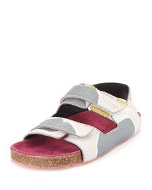 Rangor Girls' Print Camo Leather Slip-On Sandal, Ash Rose