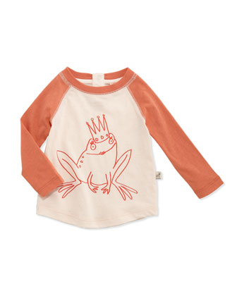 Long-Sleeve Frog Princess Baseball Tee, Coconut Cream, Size 6-24 Months