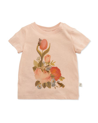 Short-Sleeve Floral-Print Jersey Tee, Peachy, Size 6-24 Months