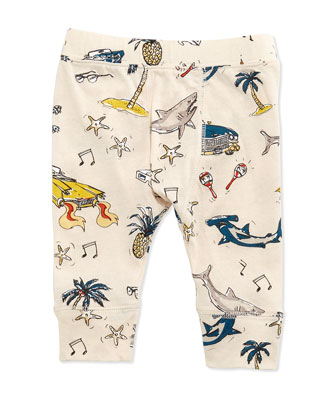 Sharks & Cars Jersey Pants, White, Size 3-24 Months