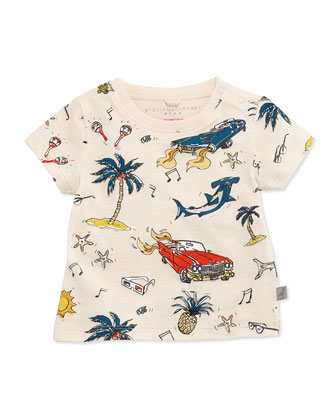 Sharks & Cars Jersey Tee, White, Size 3-24 Months
