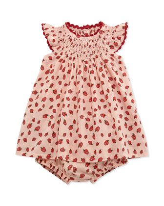 Apple-Print Shift Dress & Bloomers, Pink, Size 3-24 Months