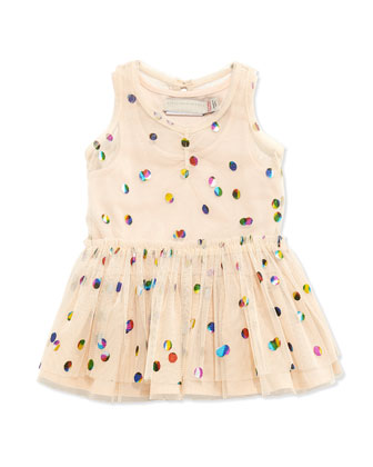 Sleeveless Polka Dot Tulle Dress, Pink, Size 6-24 Months