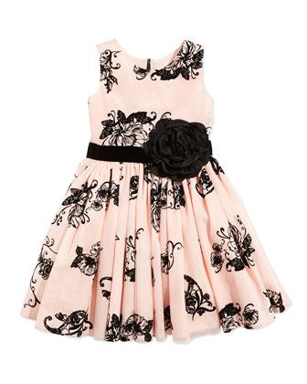 Floral-Print Party Dress, Blush, Sizes 2-6X