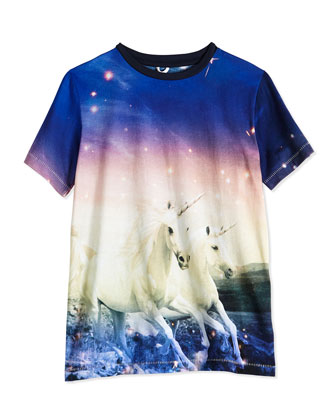 Short-Sleeve Unicorn-Print Jersey Tee, Blue/Multicolor, Size 2Y-14Y