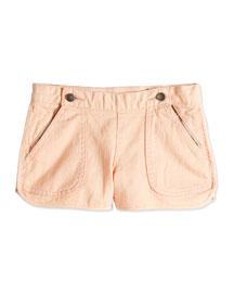 Asymmetric Button-Zip Denim Shorts, Peachy, Size 2-14