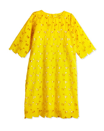 Embroidered Heart Eyelet Dress, Melon, Size 2Y-14Y