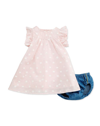 Kitty-Print Shift Dress & Bloomers, Storm Pink, Size 3-18 Months