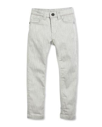 Slim-Fit Stretch-Denim Pants, Gray, Size 2-10
