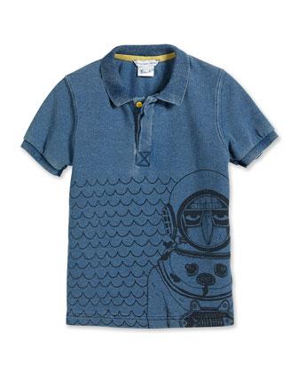 Scuba-Graphic Polo Shirt, Blue, Size 2-10