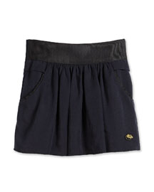 Full Twill Skirt w/ Contrast Trim, Navy, Size 2-10