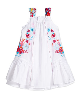 Coral-Print A-Line Dress, White, Size 3Y-6Y