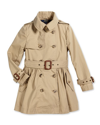 Military-Style Trench Coat, Khaki, Size 2T-6X