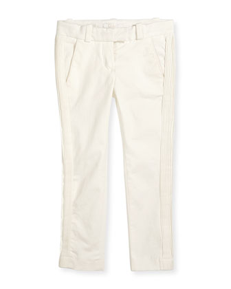 Pleated Stretch-Gabardine Pants, Off White, Size 2-6