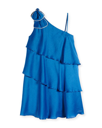 One-Shoulder Tiered Dress, Electric Blue, Sizes 8-14